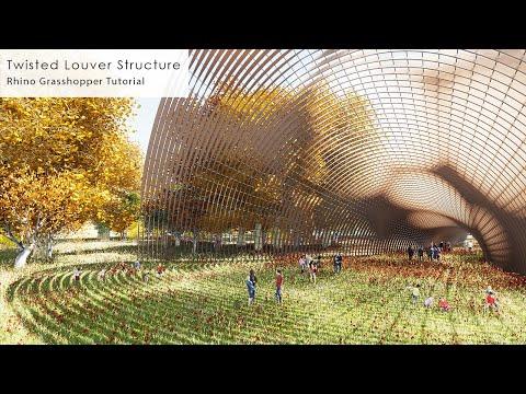 Twisted Louver Structure Pavilion Rhino Grasshopper Tutorial