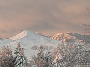 Morning sunshine on Haystack Mountain and the Flatirons