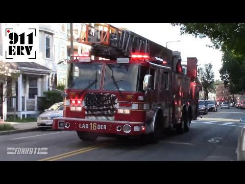 Boston Fire Ladder 16, Engine 53 and 52, Rescue 2, and Car 9 Responding