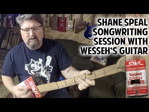 Shane Speal Songwriting with Wesseh's Tin Can Guitar - song first draft!