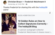 """1 HobbyDB article """"10 Golden Rules On How To Collect Autographs Properly"""""""