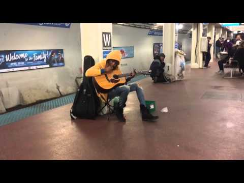 "Subway performer stuns crowd with Fleetwood Mac's ""Landslide""- Chicago, Il- Blue Line, Washington S"