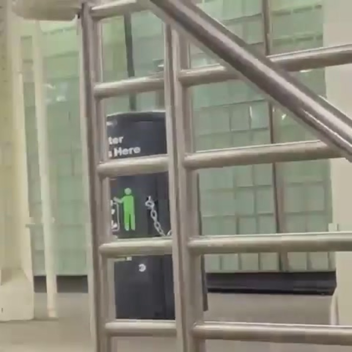 Garbage can explodes in the subway