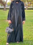 Black Abaya Set with Patches and Piping Trimmings   Latest Abaya Style