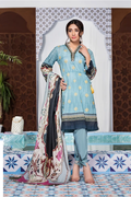 Zaitoon Sky Lustre Digital Printed Embroidered Cotton Lawn Dress Piece