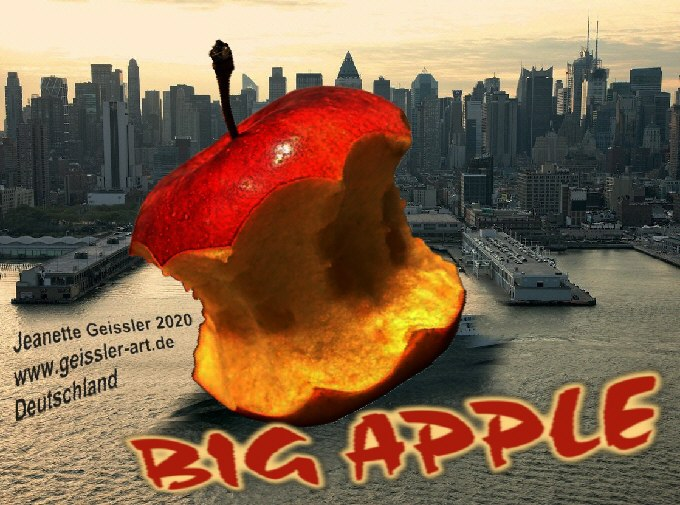 """Jeanette Geissler – mail-art project """"big apple"""" 2020  United States  – photomontage digitally edited"""
