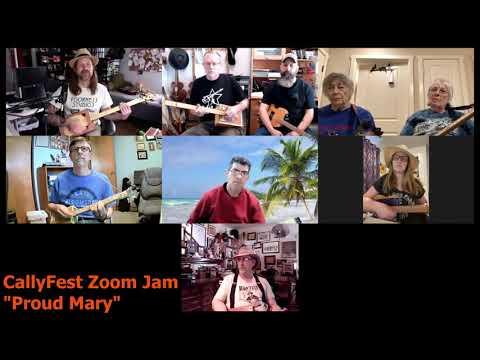 CallyFest Zoom Jam - Proud Mary - Cigar Box Guitar