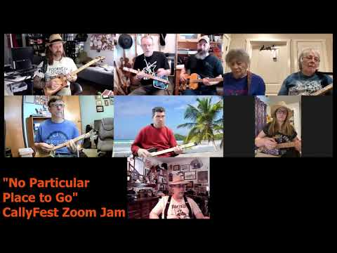 CallyFest Zoom Jam - No Particular Place to Go - Cigar Box Guitar