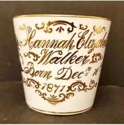 1871 Antique Staffordshire Baby Birth Mug