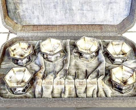 Antique Sterling Silver Salt Cellar Set In Case