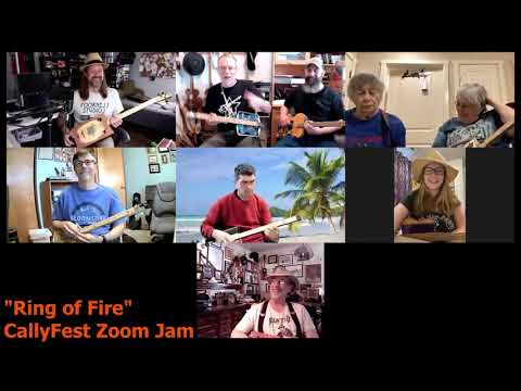 CallyFest Zoom Jam - Ring of Fire - Cigar Box Guitar