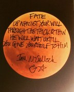Ian McCulloch (singer/songwriter) of Echo & The Bunnymen signed and hand written lyrics from the song The Killing Moon.