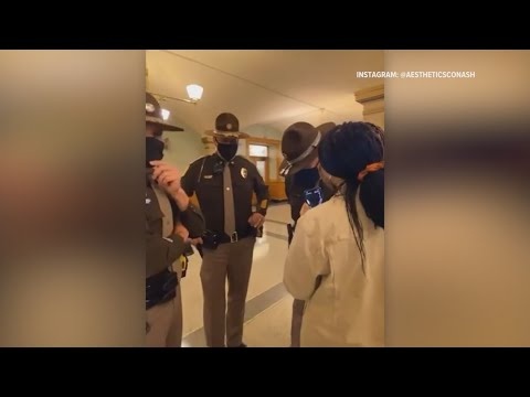 Footage from Apr. 8th, 2021: Trooper arrests BLM teen activist at Iowa Capitol