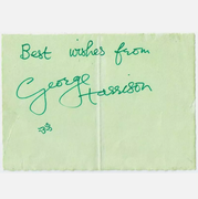 George Harrison signed 5x7 paper 1969