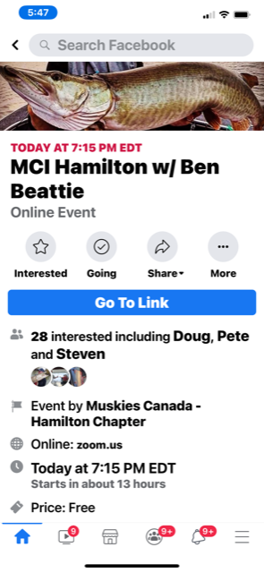 Muskies Canada is having some good speakers if anyone is interested