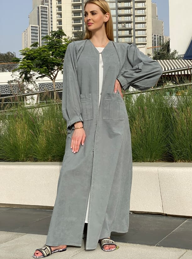 Grey Shamoua Abaya with Front Pockets and Pleated Trimmings