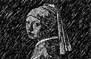 The Girl with the Pearl Earring Woodcut