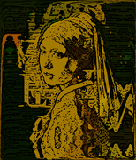 The Girl with the Pearl Earring Woodcut 3A