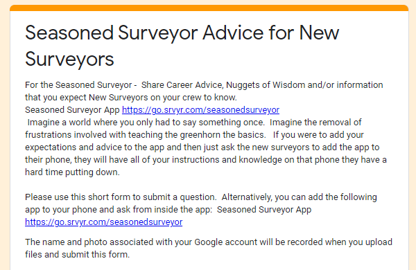 Share Advice for New Surveyors