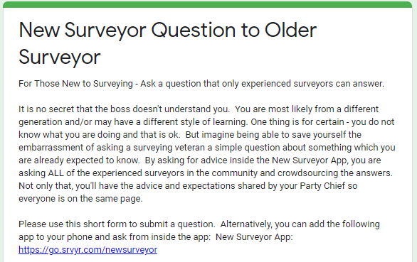 New Surveyors Ask Advice from Older Surveyors