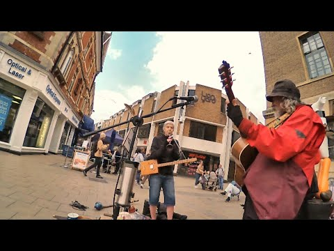 Cambridge busk with home made pvc sax and Cigar Box guitar