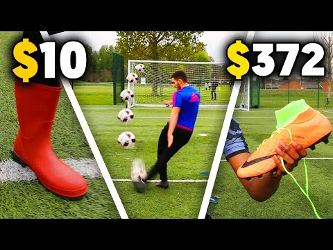 $10 WELLIE BOOTS vs. $372 FOOTBALL BOOTS - Football Challenges Experiment