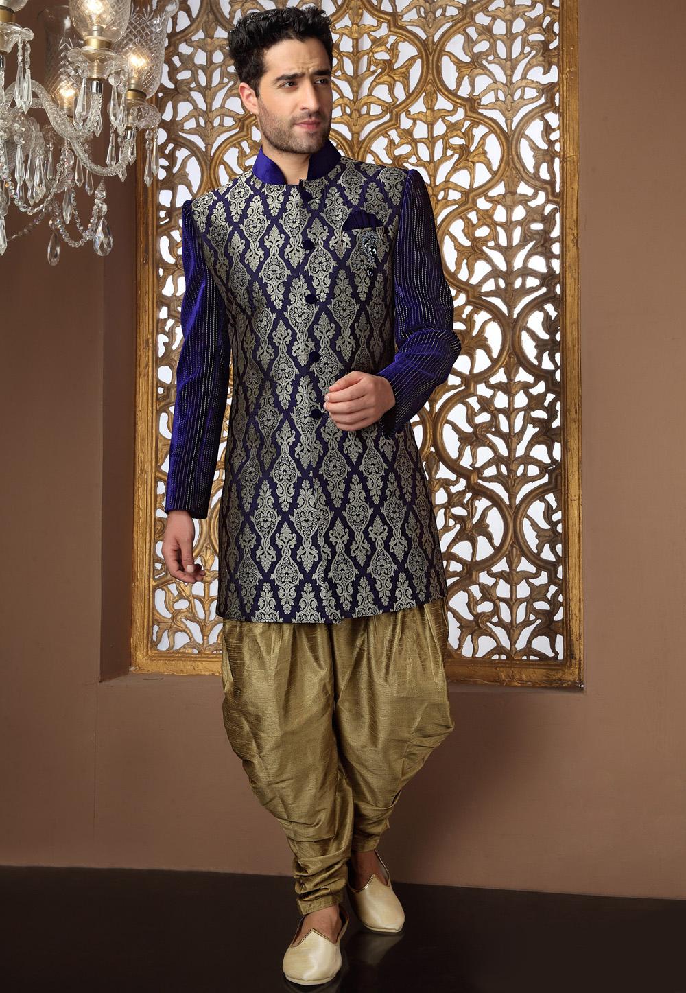 Dark Blue Banarasi Art Silk Readymade Sherwani with Patiala