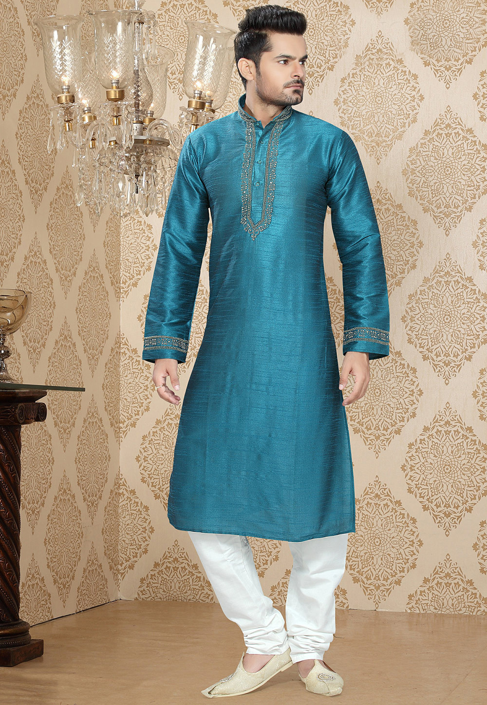 Teal Blue Art Silk Readymade Kurta With Churidar