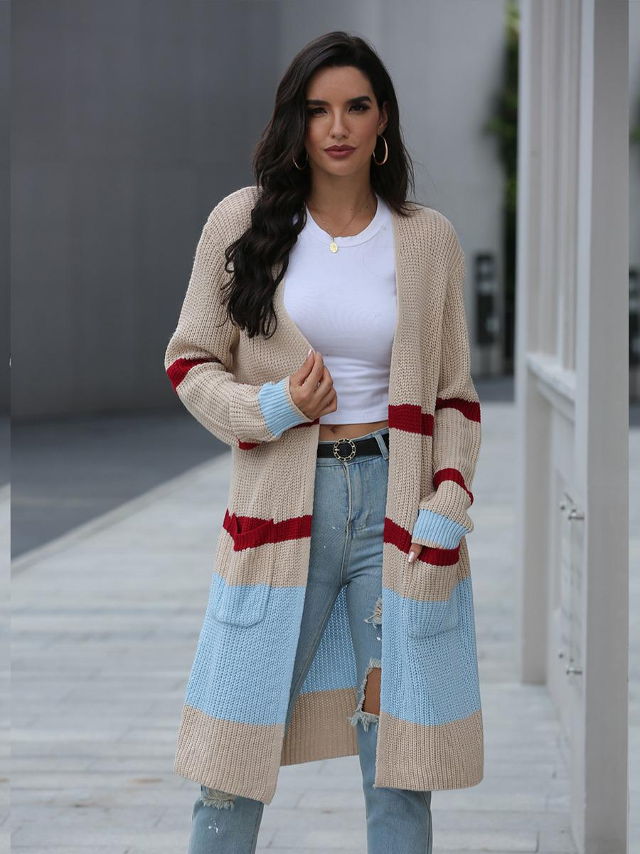 shestar wholesale pocket stripe colorblock knitting cardigan