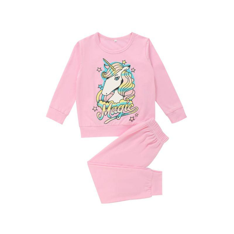 kiskissing wholesale 2-pieces kid girl unicorn pink set top with trousers