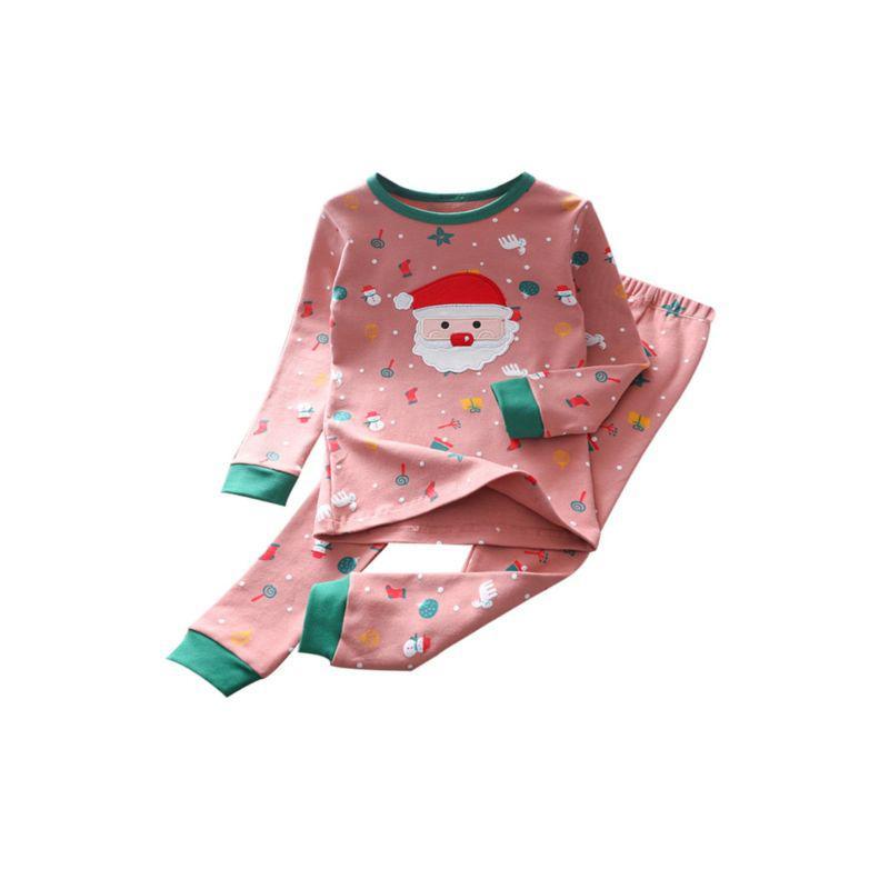 kiskissing wholesale 2-pieces kid girl christmas pajamas set santa top and pants