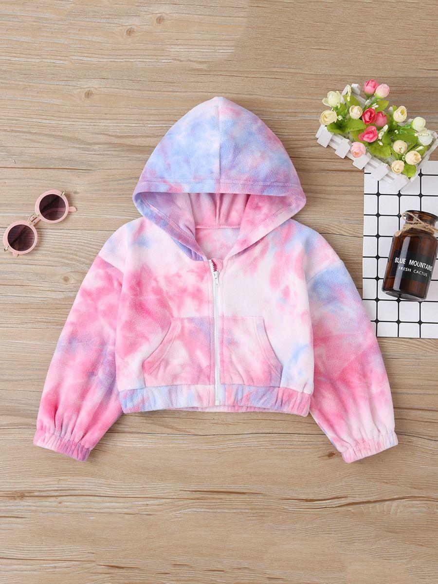 kiskissing Wholesale Kid Girl Tie-dye Fleece Hoodie Jacket 2011159