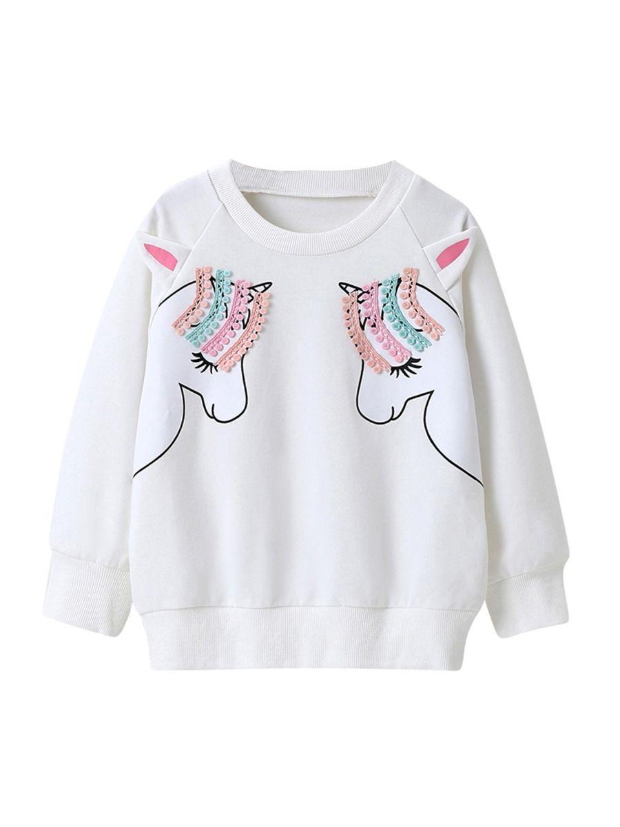 kiskissing Wholesale Kid Girl Unicorn Sweatshirt In White