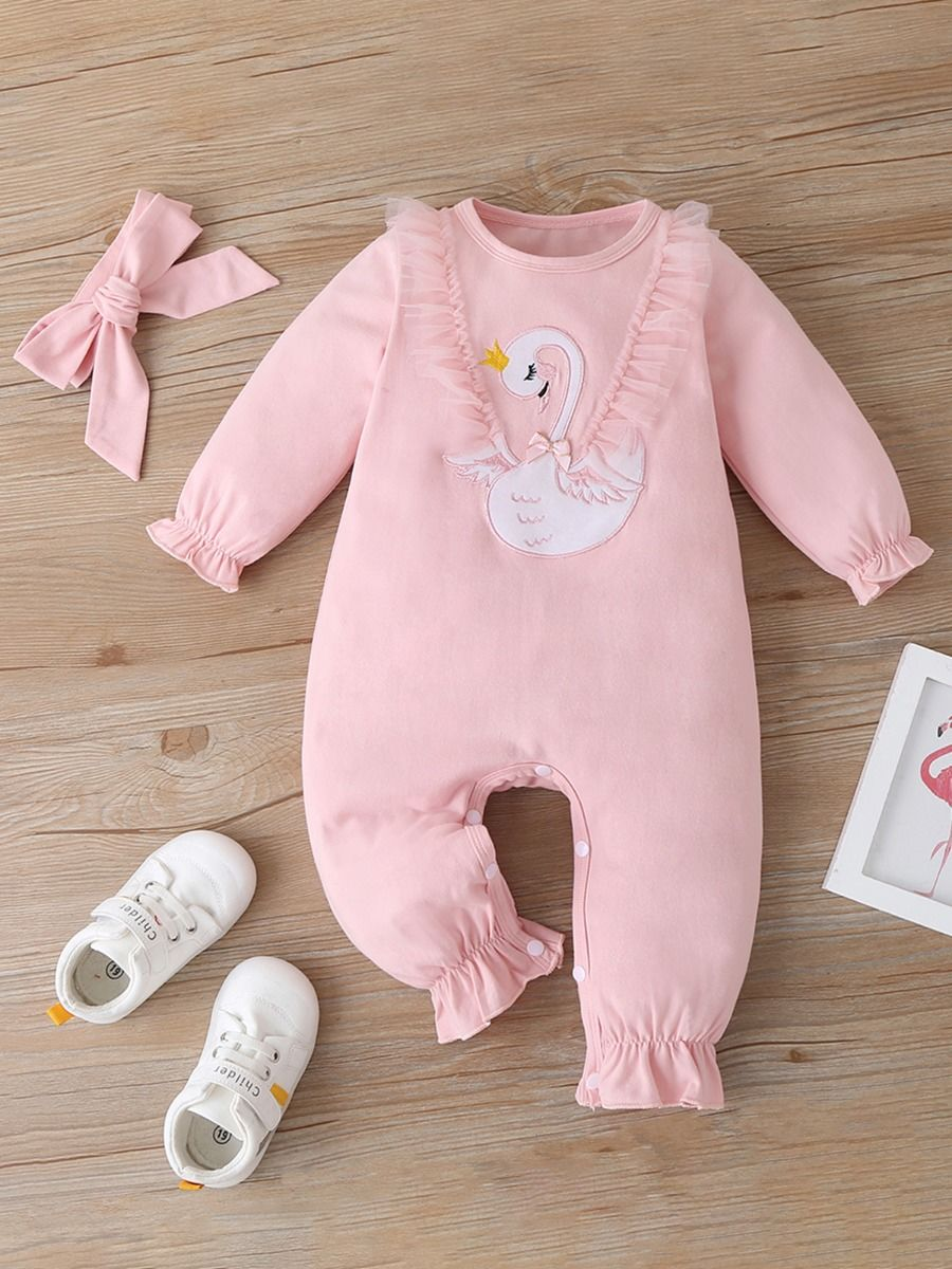 kiskissing wholesale 2-pieces-baby-girl-swan-embroidered-lace-jumpsuit-and-headband