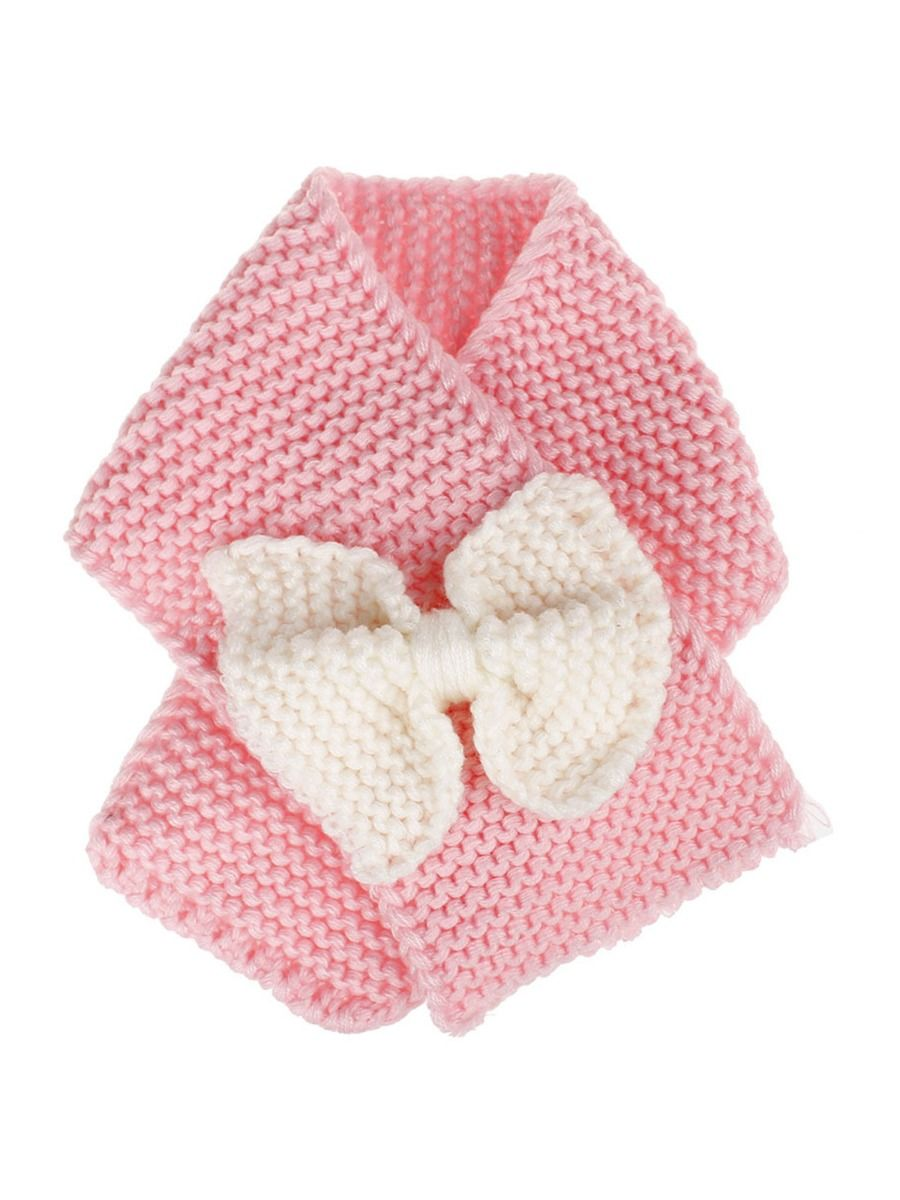 kiskissing wholesale kid girl bowknot knit scarf