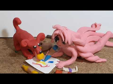 Pinku and the picture, clay animation play doh