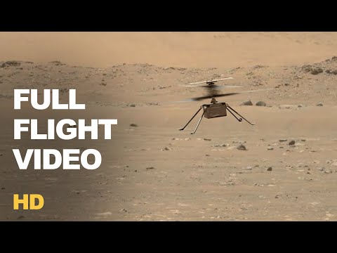 Full Video of Mars Helicopter Ingenuity First Flight Showing Ascending & Landing in HD