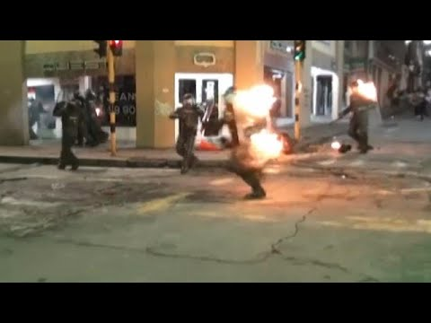 Colombia: 6 Cops on Fire After Direct Molotov Hit
