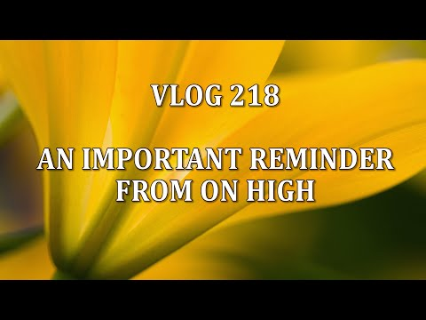 VLOG 218 - AN IMPORTANT REMINDER FROM ON HIGH
