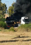 Israeli Truck Carrying Tank Targeted by Presumably a 'Kornet' Missile