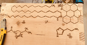 Chemical structure with cartoon descriptions