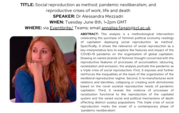 Conversations on Social Reproduction Seminar:  'Social reproduction as method: pandemic neoliberalism, and reproductive crises of work, life and death'