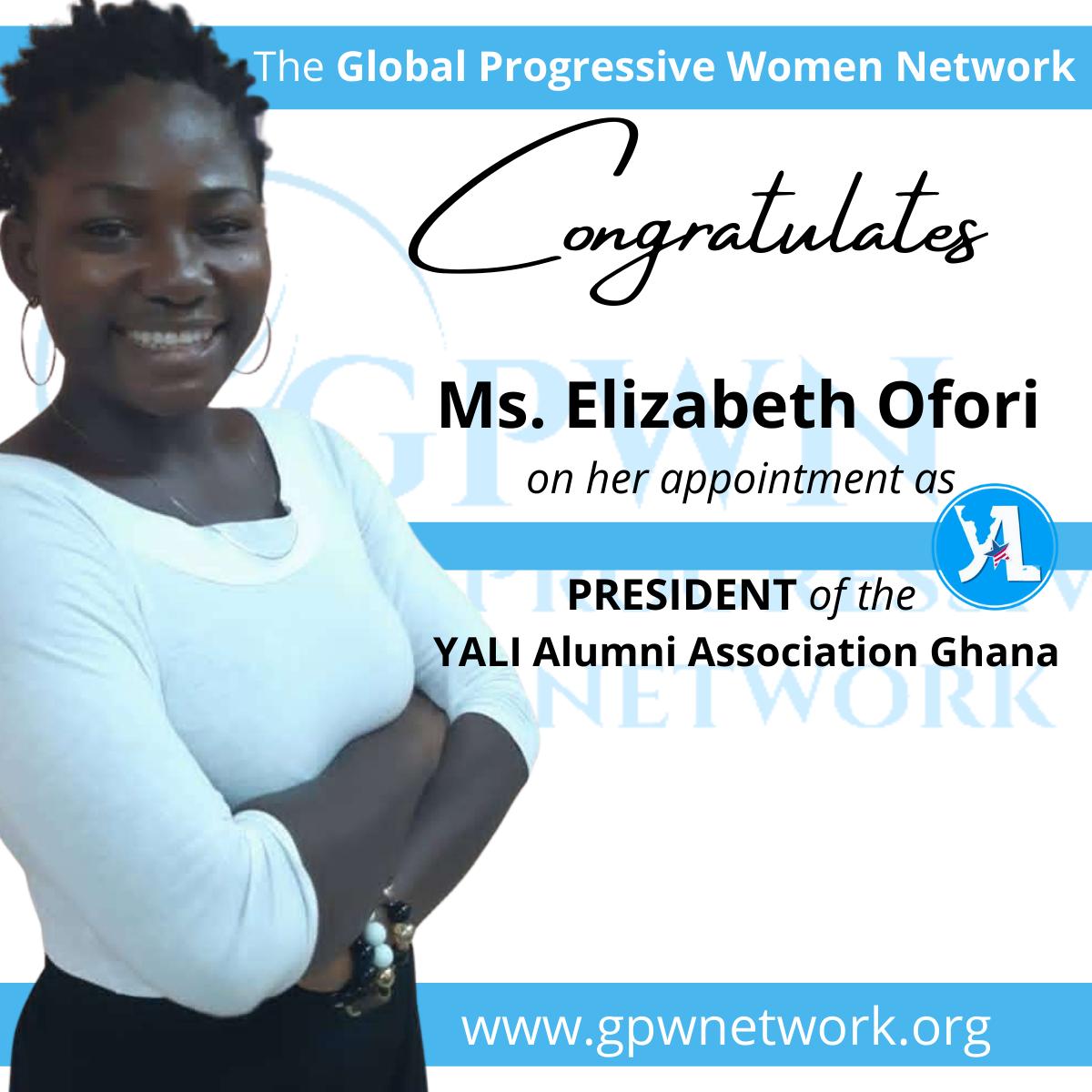 Congratulations toMs.Elizabeth Oforion her appointment asPRESIDENT of theYALI Alumni Association Ghana