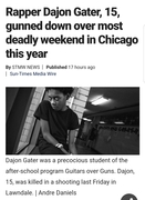 Rapper Dajon Gater, 15, gunned down over most deadly weekend in Chicago this year