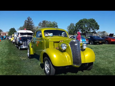 Vagabonds Car Club 2021 Spring Kickoff Show Driving Onto the Field Video 4