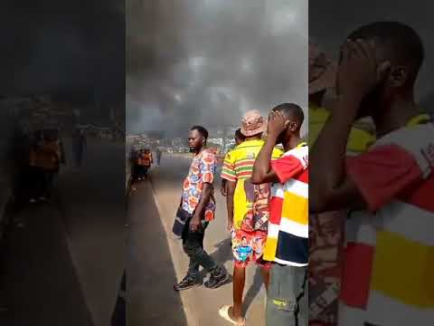 JUST IN: Angry youths set trailer loaded with cows on fire in Anambra
