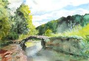 """ILe petit pont romain dit """"Le petit pont aux fées"""" Cascade de la Burdanche et des Dards."""