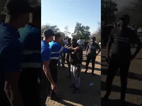 South Africa, Witbank (Emalahleni): White Parents and Black Protestors Face Each Other at Witbank H…