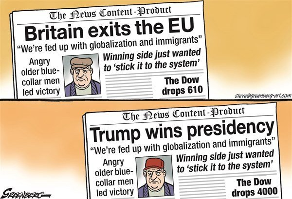 Two newspaper front pages from The News Content-Product: BRITAIN EXITS THE EU / 'We're fed up with globalization and immigrants' / Angry older blue-collar men led victory / Winning side just wanted to 'stick it to the system' / The Dow drops 610 --- and TRUMP WINS PRESIDENCY / 'We're fed up with globalization and immigrants' / Angry older blue-collar men led victory / Winning side just wanted to 'stick it to the system' / The Dow drops4000
