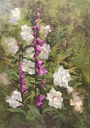 White roses and foxgloves